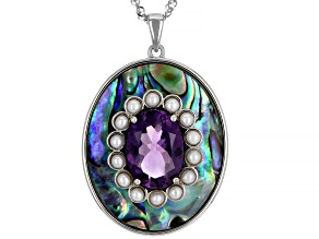 Pre-Owned Purple Amethyst Rhodium Over Sterling Silver Pendant With Chain 4.89ct