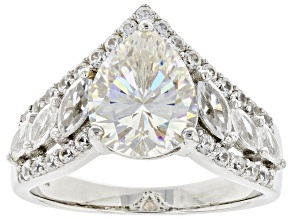 Pre-Owned Candlelight Fabulite strontium titanate and white zircon rhodium over silver ring 4.28ctw.