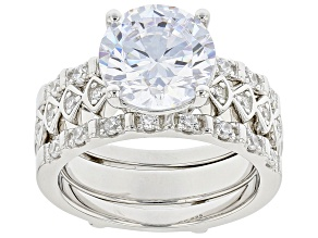 Pre-Owned White Cubic Zirconia Rhodium Over Silver Ring and Guard Set (2.15ctw DEW)