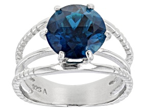 Pre-Owned Blue Topaz Rhodium Over Sterling Silver Ring. 3.70ct