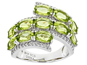 Pre-Owned Green Peridot Rhodium Over Silver Bypass Ring 5.22ctw