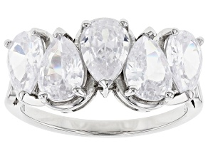 Pre-Owned White Cubic Zirconia Rhodium Over Sterling Silver Ring 3.50ctw