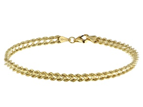 Pre-Owned 14K Yellow Gold Polished Multi-Strand Rope Link 7.5 Inch Bracelet