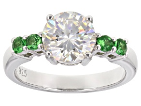 Pre-Owned Fabulite Strontium Titanate and tsavorite rhodium over sterling silver ring 2.74ctw.