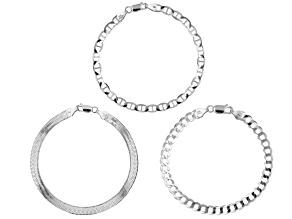 Pre-Owned Sterling Silver Set of 3 Flat Curb, Mariner, and Herringbone Link Bracelets