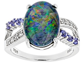 Pre-Owned Multi-Color Australian Opal Triplet Rhodium Over Silver Ring .34ctw