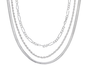 Pre-Owned Sterling Silver Set of 3 Snake, Figaro, and Rope 20 Inch Chains