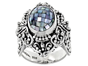 Pre-Owned Grey Mother Of Pearl Silver Solitaire Ring