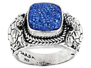 Pre-Owned Baby Blue Moon Drusy Quartz Silver Ring