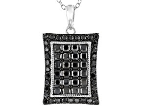 Pre-Owned Black Spinel Rhodium Over Silver Pendant With Chain 2.13ctw