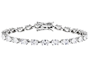 Pre-Owned White Cubic Zirconia Rhodium Over Sterling Silver Tennis Bracelet 13.65ctw