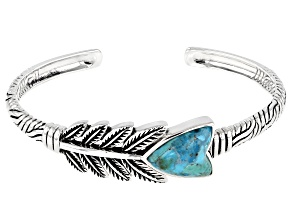 Pre-Owned Blue Turquoise Rhodium Over Silver Arrow Cuff Bracelet