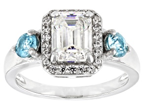 Pre-Owned Fabulite Strontium Titanate with blue and white zircon rhodium over sterling silver ring 3