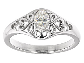 Pre-Owned Fabulite strontium titanate rhodium over sterling silver solitaire ring .50ct