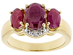 Pre-Owned Red Ruby 18K Yellow Gold Over Sterling Silver Ring 2.26ctw