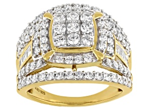 Pre-Owned White Cubic Zirconia 18K Yellow Gold Over Sterling Silver Ring 3.30ctw