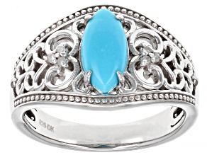 Pre-Owned Blue Sleeping Beauty Turquoise Rhodium Over Sterling Silver Ring .03ctw