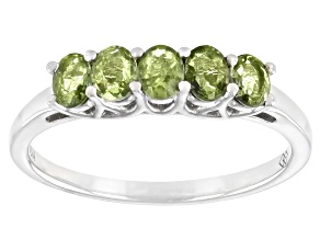 Pre-Owned Green Sapphire Rhodium Over Sterling Silver Band Ring 0.90ctw