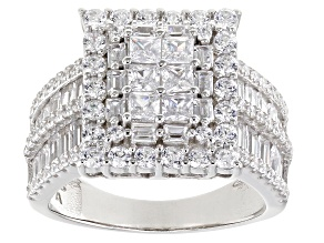 Pre-Owned White Cubic Zirconia Platinum Over Sterling Silver Ring 3.94ctw