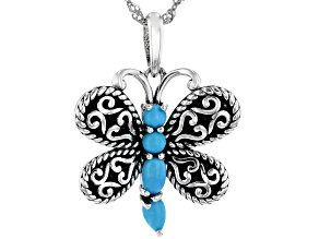 Pre-Owned Sleeping Beauty Turquoise Rhodium Over Silver Dragonfly Pendant With Chain