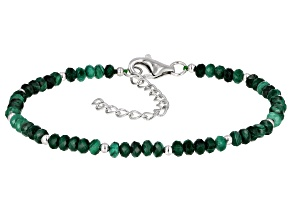 Pre-Owned Green malachite rhodium over sterling silver bracelet