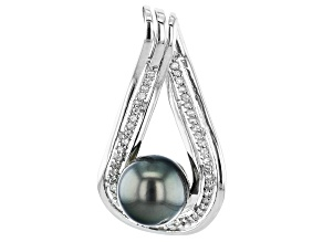 Pre-Owned Cultured Tahitian Pearl With White Zircon 0.39ctw  Rhodium Over Sterling Silver Pendant