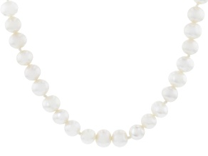 Pre-Owned White Cultured Freshwater Pearl Rhodium Over Sterling Silver 32 Inch Necklace