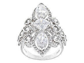 Pre-Owned White Cubic Zirconia Rhodium Over Sterling Silver Ring 8.19ctw