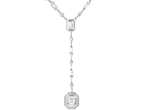 Pre-Owned White Cubic Zirconia Rhodium Over Sterling Silver Necklace 22.59ctw
