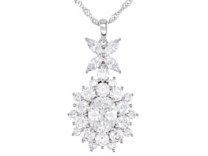 Pre-Owned White Cubic Zirconia Rhodium Over Sterling Silver Pendant With Chain 12.55ctw