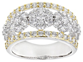 Pre-Owned White Cubic Zirconia Rhodium Over Silver And 18k Yellow Gold Over Silver Ring 4.08ctw