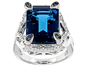 Pre-Owned London bue topaz rhodium over silver ring 12.82ctw