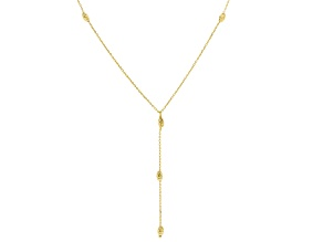 Pre-Owned 10k Yellow Gold Diamond Cut Oval Bead Station 18 inch Necklace