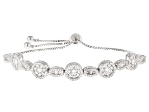 Pre-Owned White Cubic Zirconia Rhodium Over Sterling Silver Adjustable Bracelet 1.70ctw