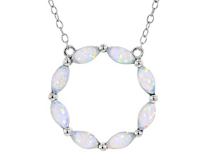 Pre-Owned Lab Created White Opal Rhodium Over Sterling Silver Necklace 1.73ctw