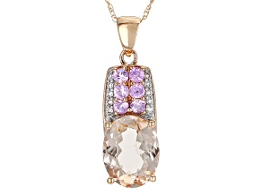 Pre-Owned Peach Morganite 14k Rose Gold Pendant With Chain 2.28ctw