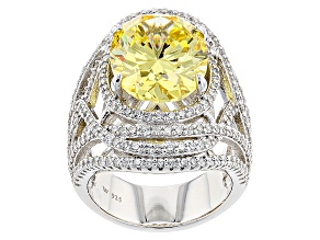 Pre-Owned Yellow And White Cubic Zirconia Rhodium Over Sterling Silver Ring 18.57ctw