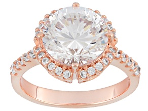 Pre-Owned White Cubic Zirconia 18k Rose Gold Over Silver Ring 6.70ctw