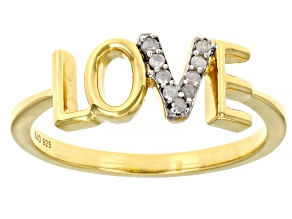 Pre-Owned White Diamond Accent 14k Yellow Gold Over Sterling Silver Love Ring