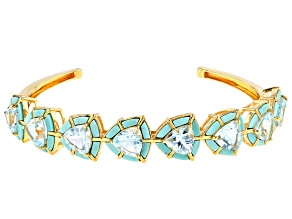 Pre-Owned Sky Blue Topaz 18k Yellow Gold Over Silver Cuff 15.87ctw