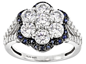 Pre-Owned Moissanite and blue sapphire Platineve ring 2.01ctw dew.