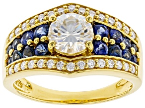 Pre-Owned Moissanite and blue sapphire 14k yellow gold over silver ring 1.30ctw DEW.