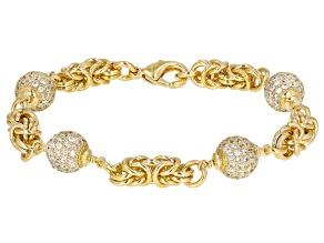 Pre-Owned Moda Al Massimo® Cubic Zirconia 18K Yellow Gold Over Bronze Ball Bracelet 7.5 Inch 7.75ctw