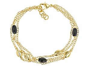 Pre-Owned .75ctw Black Onyx 18k Yellow Gold Over Bronze Bracelet.