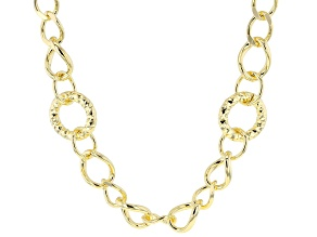 Pre-Owned 18k yellow gold over bronze graduated necklace.