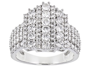Pre-Owned White Lab-Grown Diamond 14k White Gold Cluster Ring 1.90ctw