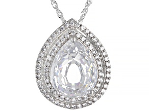 Pre-Owned White Cubic Zirconia Platinum Over Sterling Silver Pendant With Chain 16.52ctw