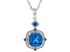 Pre-Owned Blue Lab Created Spinel Rhodium Over Silver Pendant With Chain 3.42ctw