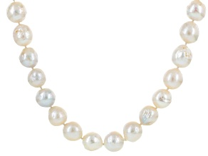 Pre-Owned Cultured Freshwater Pearl Rhodium Over Silver Necklace 12-14mm