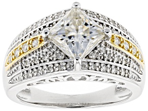 Pre-Owned Moissanite Platineve And 14k Yellow Gold Over Platineve Ring 2.22ctw DEW.